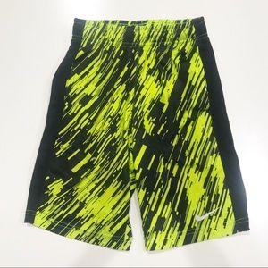 Boys Nike Dri-Fit Yellow Black Shorts Sz Small EUC